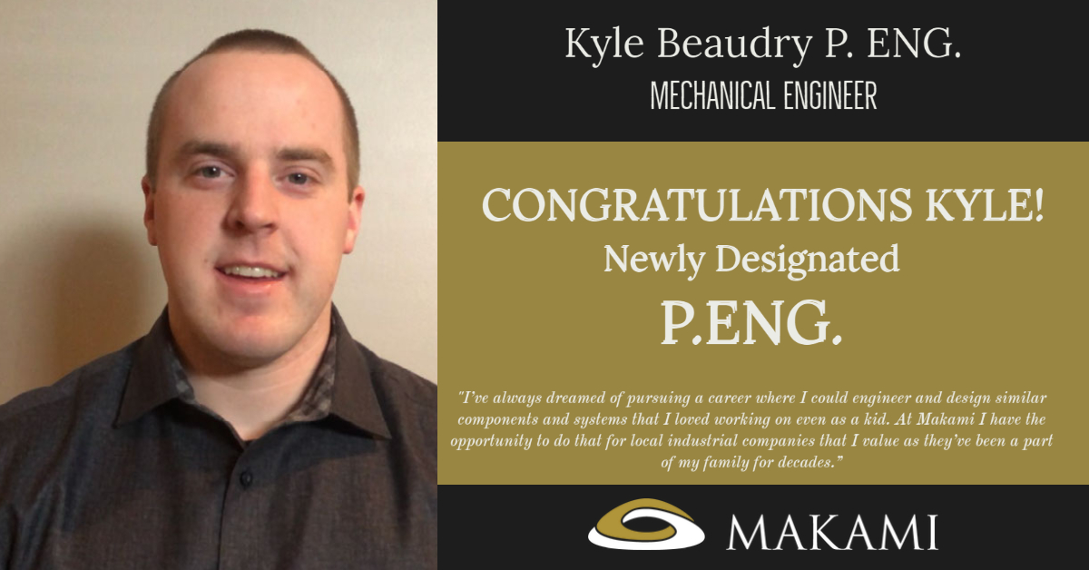 Amazing Awe-Inspiring Announcement!! Kyle Beaudry's Mechanical P.Eng. designation has arrived.