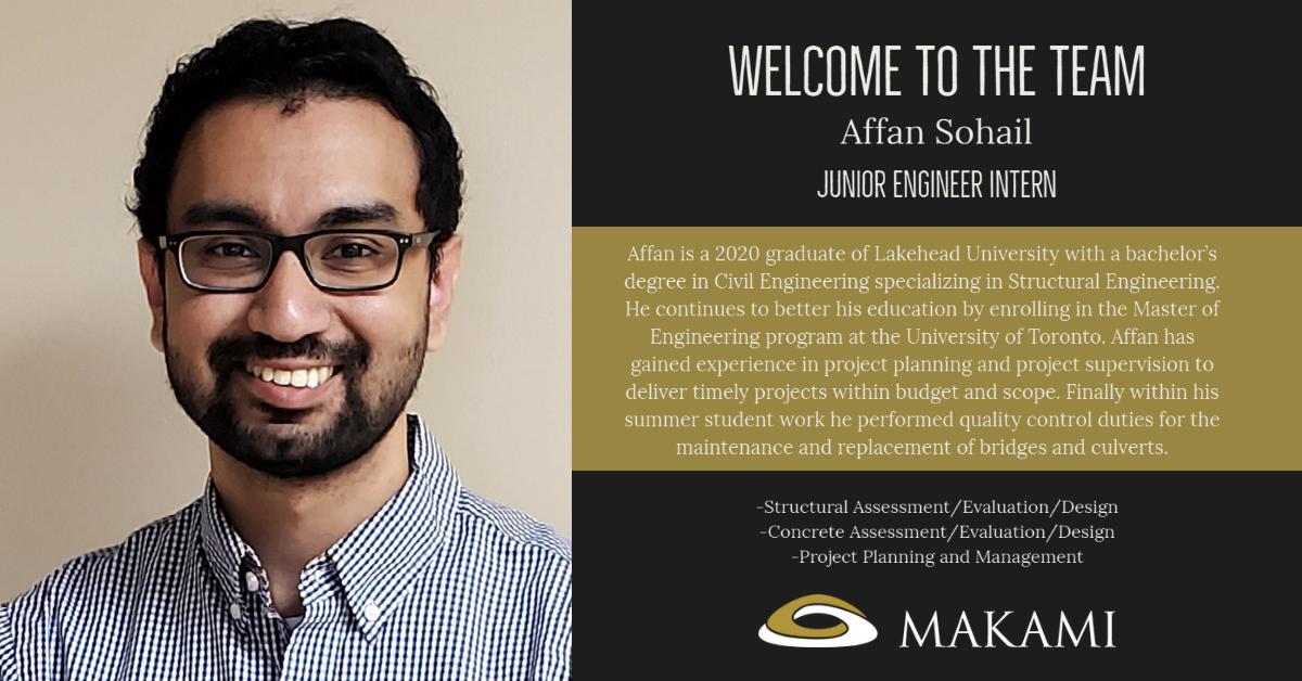 Please Welcome our new Lakehead U.  Civil Engineering graduate Affan Sohail E.I.T.